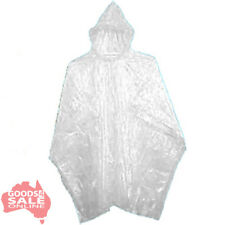 1x Disposable Clear Adult Waterproof Emergency Plastic Rain Poncho Raincoat BNIP