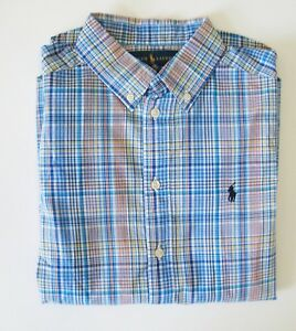 Ralph Lauren Boys Plaid Poplin Long Sleeve Shirt Blue Multi Sz XL (18-20) - NWT