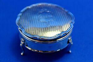 Antique Vintage Hallmarked 1917 Sterling Silver Jewellery Trinket Box 83 grams