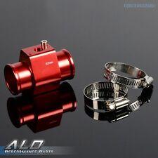 32mm Water Temp Gauge Radiator Hose Sensor Aluminum Adaptor + Clamp Red