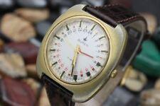 Vintage BUREN 24HR GMT Hand Roulette Dial Gold Tone Men's Dress Watch