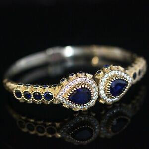 925 Sterling Silver Handmade Authetic Turkish Sapphire Bracelet Bangle Cuff