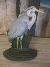 Vintage Painted Cast Iron Figural Heron Egret Doorstop/Door Stop ~ Unmarked