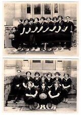 RARE 2 Photos Girl Basketball Team MIDGET Genesee Wesleyan Seminary Lima NY 1923
