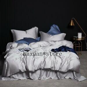 Silver Grey Premium Tencel Silk Bedding Set Luxury Summer Duvet Cover Bed Sheet