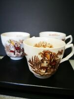 """""""The Old Mill"""" Johnson Bros Porcelain 3 Cups  Made in England"""