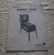 1981 Williams Jungle Lord Parts Supplement Pinball Manual