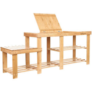 """44"""" Extra Large 3-Tier Natural Bamboo Shoe Rack Bench with Storage Drawer on Top"""
