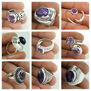 925 Sterling Solid Silver Natural Amethyst Gemstone Ring Jewelry US Size 6.5