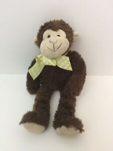 Mo Monkey Bearington Collection Brown Plush Green Dot Bow Stuffed Toy Lean Beans