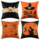 4 Pack Halloween Pillow Covers 18x18 In For Sofa Couch Farmhouse Room Decoration
