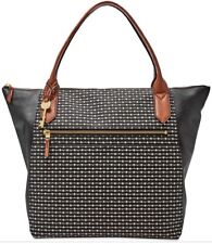 New Fossil Fiona Large Tote Neutral stripe bag faux leather black stripe tote