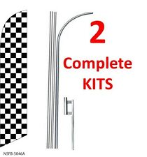 2 (two) CHECKERED black/white 15' SWOOPER #3 FEATHER FLAGS KIT with poles+spikes