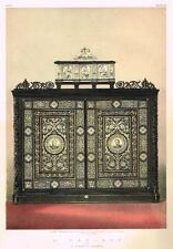 """Waring's """"CABINET BY GATTI DE FAENZA""""- Chromo from """"MASTERPIECES of ART"""" - 1863"""