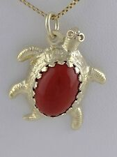 LADIES 14K YELLOW GOLD 3D TURTLE LARGE OVAL CARNELIAN FINE BRACELET CHARM 1""