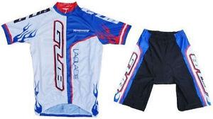 GUB Cycling Jersey and Short Set 1/2 Zipper, Lycra, Spandex Blue/White 3XL