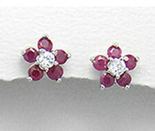 Solid Sterling Silver 9mm FlOWER Genuine Red Ruby Stud Earrings Premium Backs