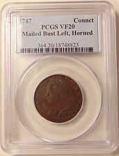 1787 Conn. Copper - Mailed Bust Left - Horned Bust - PCGS VF20 - Very Nice Coin