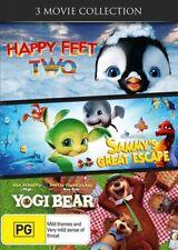 Sammy's Great Escape + Yogi Bear + Happy Feet 2 | DVD Region 4 | Brand New | Two