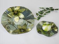 Teller Glas Deko Blume grün 25 cm (B884442) Glasschale Dekoschale Glasteller