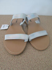 Ladies Girl Express Size 9 Silver Sandals Shoes Flats With Tags