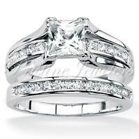 🔥 925 Sterling Silver Women's Wedding Band Princess Bridal Engagement Ring Set