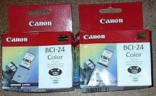 LOT OF 2 GENUINE CANON BCI-24 COLOR INKJET CARTRIDGES NEW SEALED