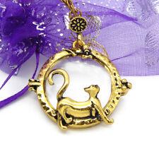 Katze Liebe Blume Tier bronze Vintage Damen Antik Lupe Anhänger Halskette