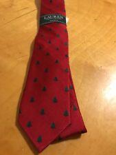 $28 Boys Lauren Ralph Lauren silk tie red Christmas Tree B18