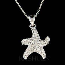w Swarovski Crystal ~STARFISH Sea Ocean Star Fish Beach Wedding Necklace Jewelry