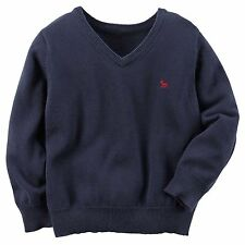 Carter's Boys Navy V-Neck Sweater classic knit sweater Nwt blue