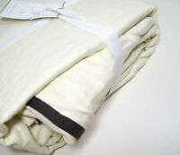 Pottery Barn Belgian Flax Linen Duo Tone Flange Ivory Full Queen Duvet Cover