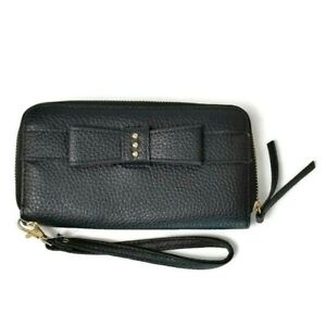 Sears Zip Around Wallet Wristlet Bow Accent Black Faux Leather Pebbled Finish