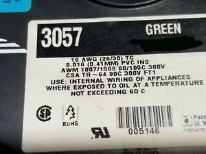 Alpha Wire 3057 16awg Tinned Copper Hook Up Wire 300V 105C MTW TEW GREEN /100ft