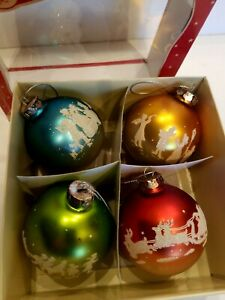 Vintage-look Bethany Lowe Designs- set of 6 glass ball Christmas ornaments -NIB
