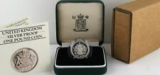 1983 Royal Mint Royal Arms Silver Proof PIEDFORT One Pound £1 Coin COA Box
