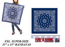 "35""x35""BLUE SUPERSIZE XXL GIANT PAISLEY BANDANA Bandanna Head Wrap Scarf Scarves"