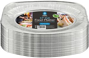 """Disposable Aluminium Catering Serving Party Foil Platters 17"""" Inches Pack of 20"""