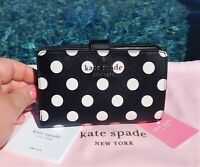 🌸 NWT Kate Spade Staci Picture Dot Medium Compact Bifold Wallet Black New $169
