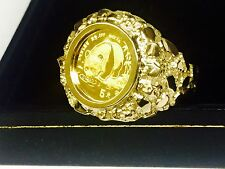 24 KT CHINESE PANDA BEAR COIN IN 14 KT SOLID YELLOW GOLD NUGGET COIN RING