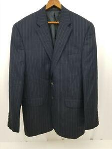 Chaps Mens Navy Blue Pinstriped Sport Coat Suit Jacket 100% Wool Blazer 40R
