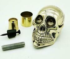 Designer Solid Brass Skull Head Handle for Walking Stick Cane Shaft W/Accessoris