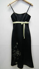 BNWT Dynasty Black Satin Evening Dress with Lime Green Detail Size 4/6