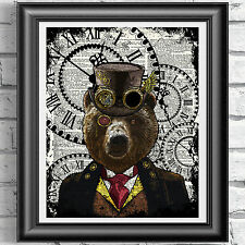 Bear Print Vintage Dictionary Page Wall Art Picture Steampunk Animal in Clothes