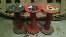 "3 Antique Vtg. Industrial spools 9"" wooden Industrial decor/candlestick holders"