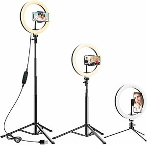 """10.2"""" Ring Light with 2 Tripod Stand & Phone Holder, Anozer Dimmable Selfie Ring"""