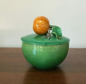 Antique Majolica Trompe L'oeil Mandarin Orange Bowl with Lid Portugal (E)