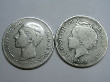 SPAIN 1881 1893 PGV ALFONSO XII-XIII 5 PESETAS LOTE 2 MONEDAS PLATA SILVER COINS