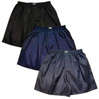 Mens Thai Silk Boxer Shorts 3 Pairs Black, Dark Blue, Gray Underwear M L XL 2XL