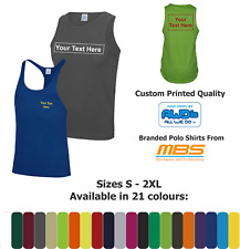 Custom Printed Cool Wicking Tank Muscle Vest Mens Gym Active Wear Sports Wear